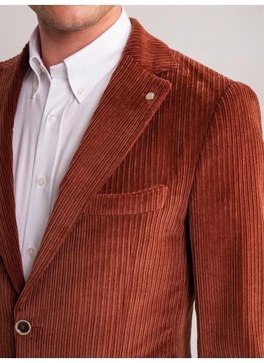 Dufy Antrasıt Kadıfe Fıtıllı Kumaş Pamuk Karışımlı Erkek Ceket - Slım Fıt Kiremit